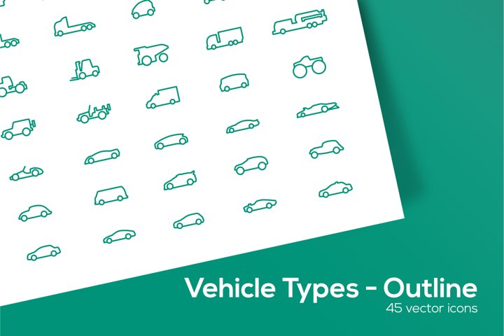 Vehicle Types Icons Set - Outline