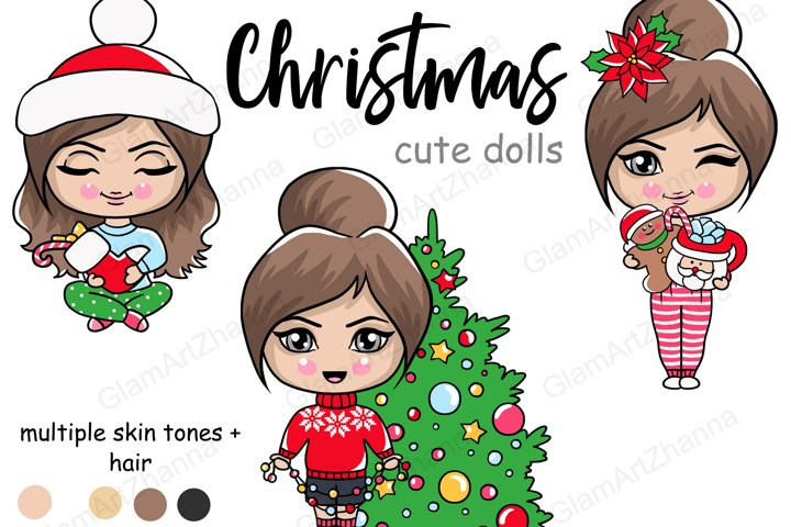 Christmas CUTE DOLLS Winter Snowy Holiday Clipart PNG Files