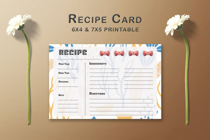 Floral Arrangement Recipe Card Template