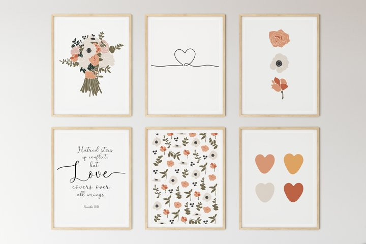 Set of 6 flower prints, Digital love posters, Birthday gift