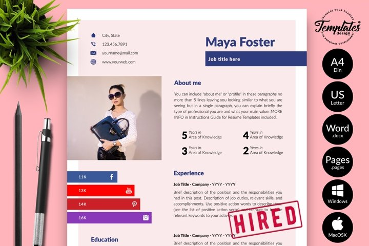 Modern Resume CV Template for Word & Pages Maya Foster