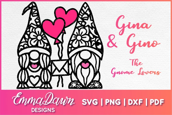 GINA & GINO THE GNOME LOVERS SVG VALENTINES DAY MANDALA