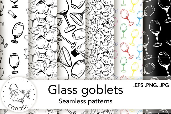 Seamless patterns with glasses for alcohol drinks