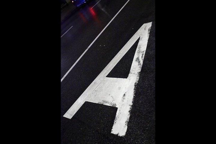 Sign on asphalt