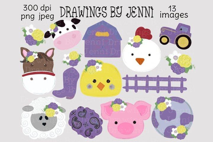 Barn Farm Animals, Girls Barnyard Purple
