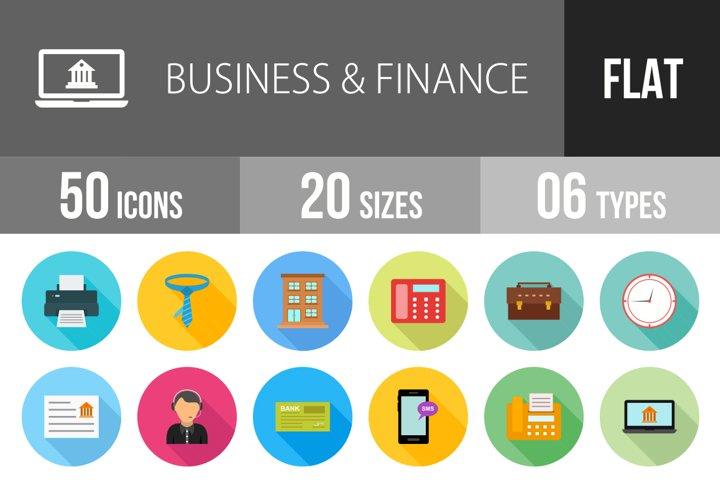 50 Business & Finance Flat Long Shadow Icons Season II