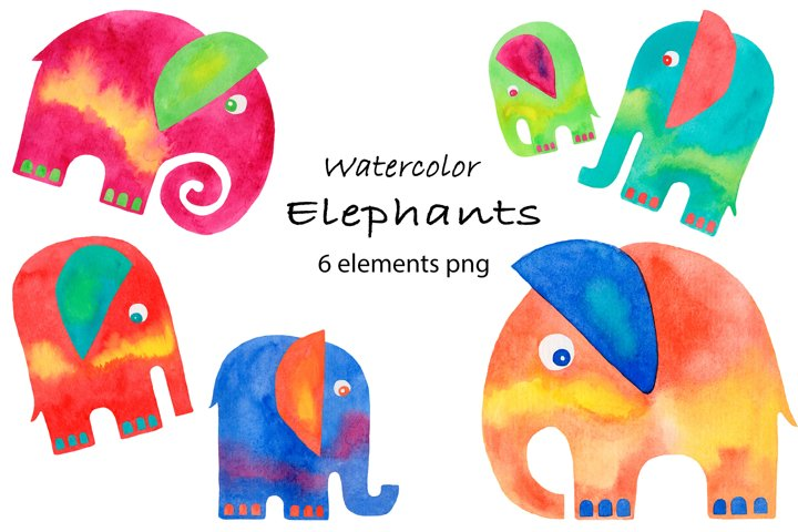 Elephants watercolor clipart collection