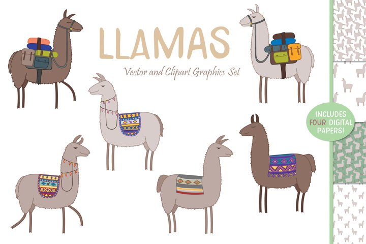 Llama Graphic Set