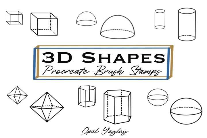 3D Geometric Shapes Brush Stamps for Procreate / iPad