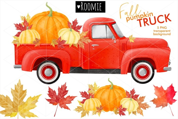 Fall vintage red TRUCK with pumpkins PNG, Watercolor clipart