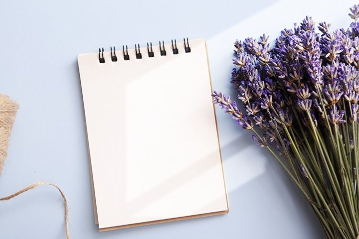 Top view lavender flowers and note with copy space