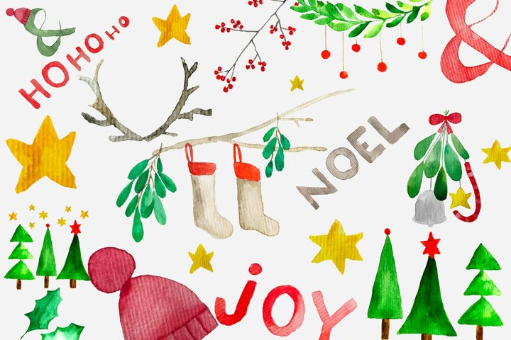 Festive Christmas watercolor clip art set