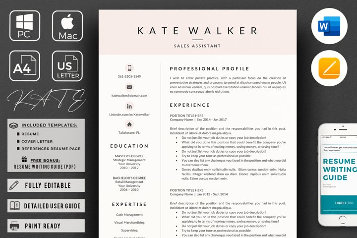 Professional Resume Template. 3 Page Resume Template CV
