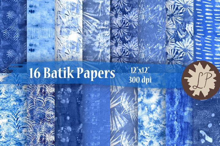 16 Blue Batik Style Watercolour Papers