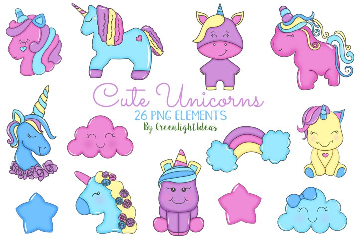 Cute Unicorns Clipart, Unicorns Graphics, Doodle Unicorns