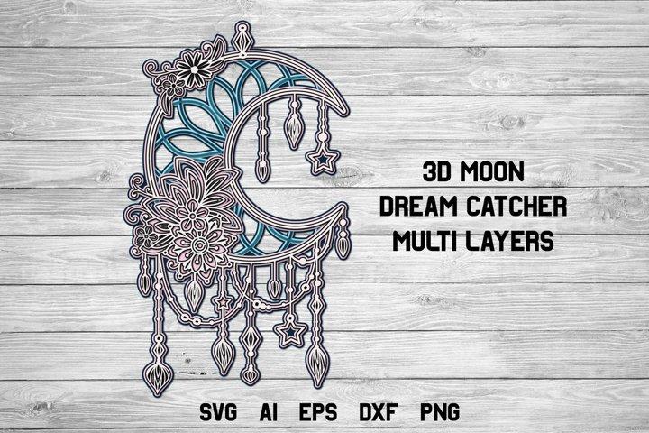 3d Layered Moon Dream Catcher  Multi Layer Boho SVG Cut File