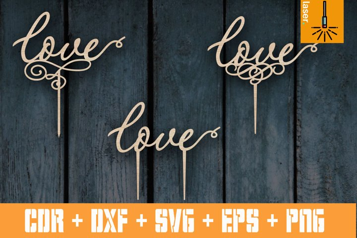 3 Wedding toppers | Cake topper LOVE | CNC Pattern Vector cu