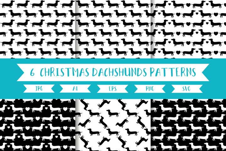 Monochrome Dachshunds/cute dogs seamless patterns