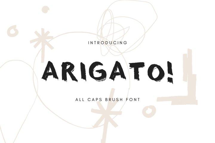 ARIGATO! all caps brush font