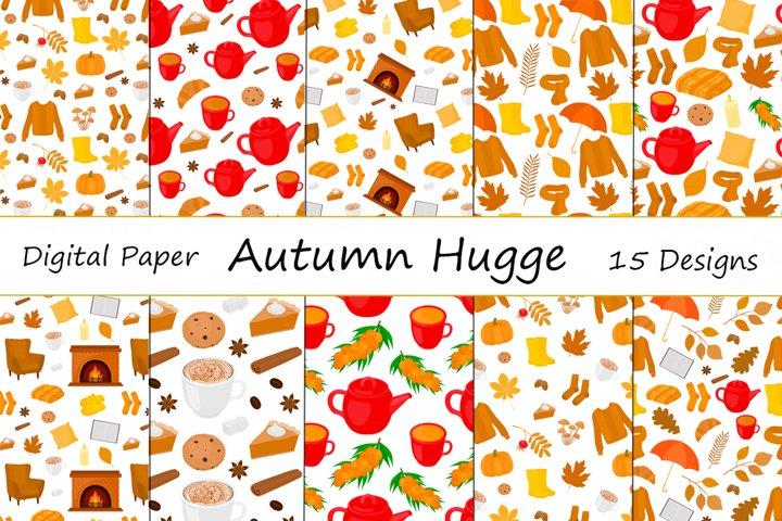 Set Seamless patterns Hygge autumn vector illustration