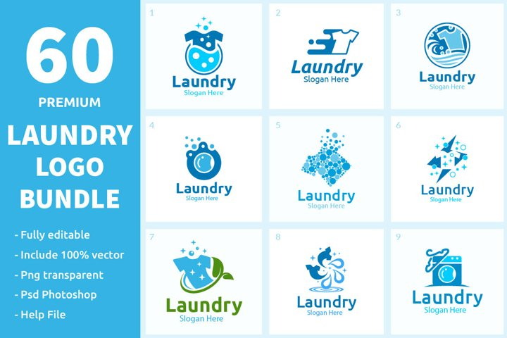 60 Laundry Logo Bundle