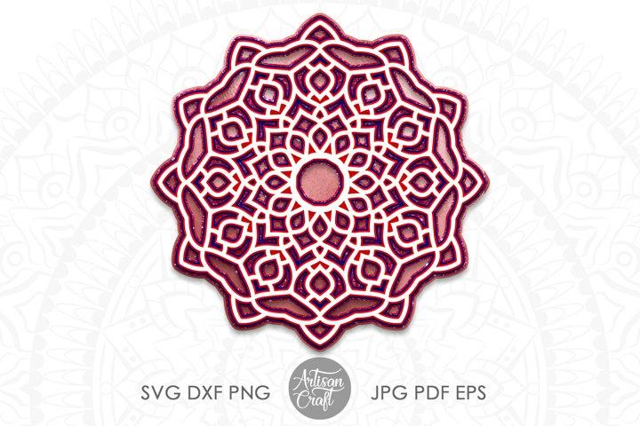 3D layered mandala SVG, layered design