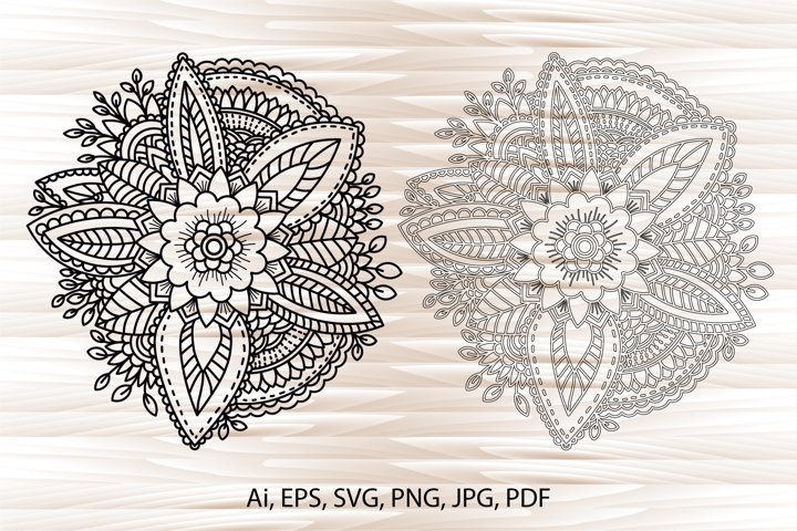 Flowers, floral mandala, flower coloring page, hand-drawn