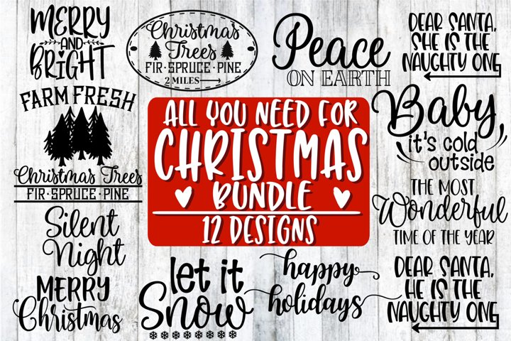 All You Need For Christmas Bundle - 12 Designs example