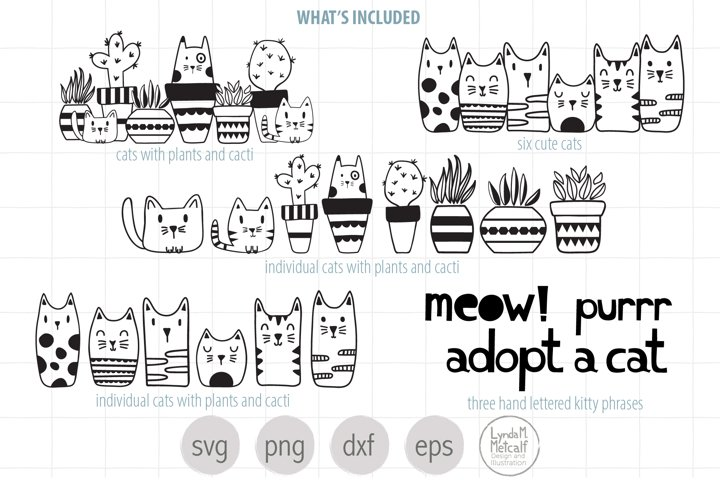 Illustrated Cats SVG Big Bundle, Cats, Plants, Handlettering