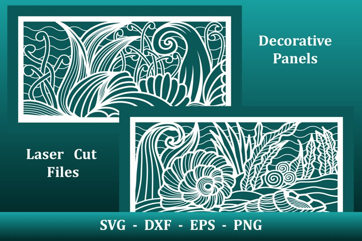 Laser cut Panels, files for CNC. Nautical underwater pattern