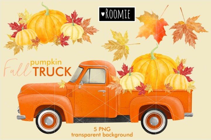 Fall vintage pumpkin TRUCK PNG, Watercolor clipart retro car