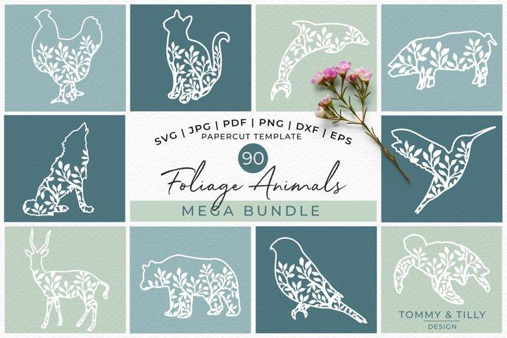 Foliage Animals Mega Bundle - Papercut SVG DXF PNG JPG PD