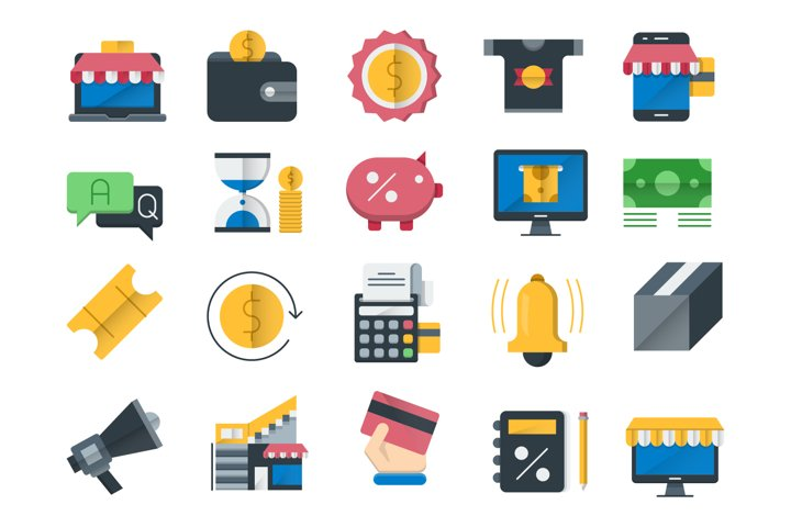 Shopping and retail flat icons set