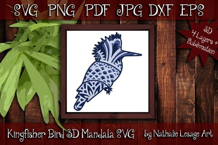 Layered Mandala Bird 3D SVG Beach Design Clipart Sublimation