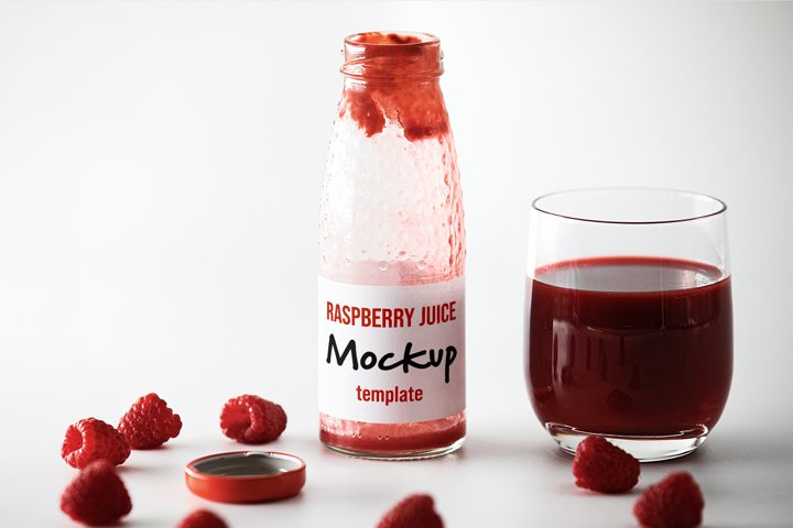 Raspberry Juice Bottle Mockup