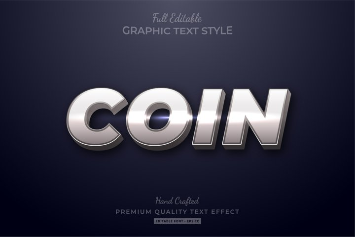 Silver Coin Shine Editable Text Effect Font Style