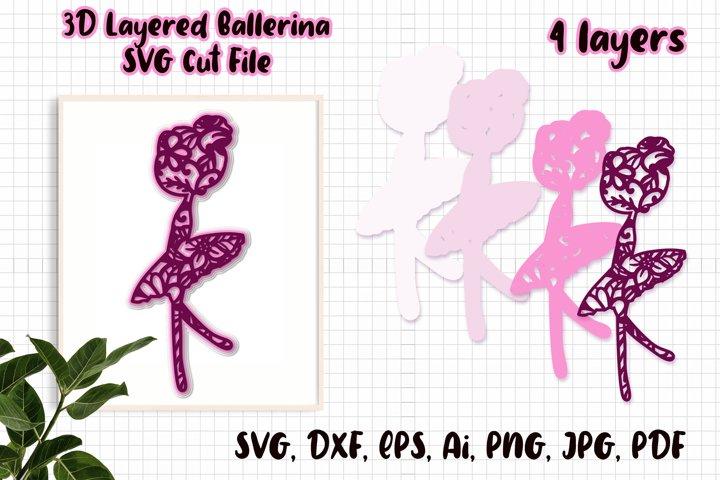 3D Ballerina SVG / 3D Layered SVG / SVG Cut File.