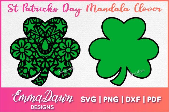 St Patricks Day Mandala Clover SVG Zentangle Design