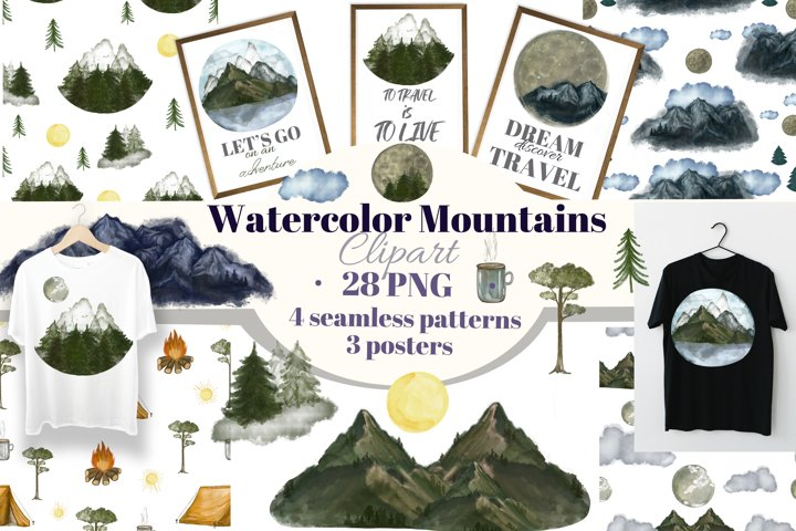 Mountains&Landscapes watercolor big clipart.Seamless pattern