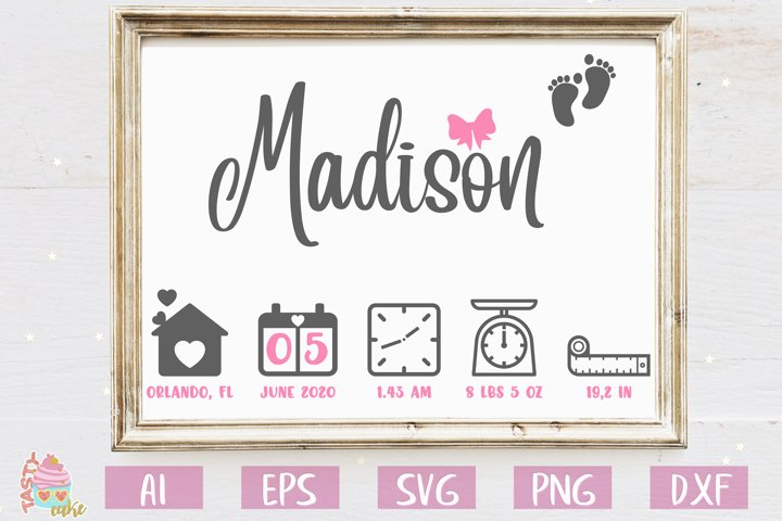 Baby Birth Stats - Birth Announcement Template