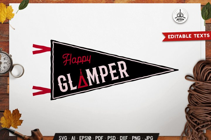 Happy Glamper SVG Badge Vector Retro Tent Pennant Logo PNG