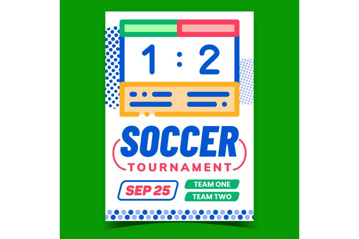 Soccer Tournament Creative Advertise Banner Vector