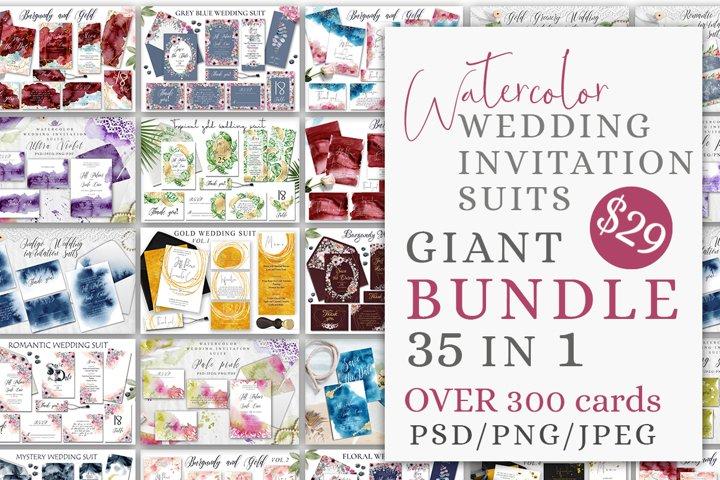 Watercolor Wedding Invitations Suits. GIANT BUNDLE