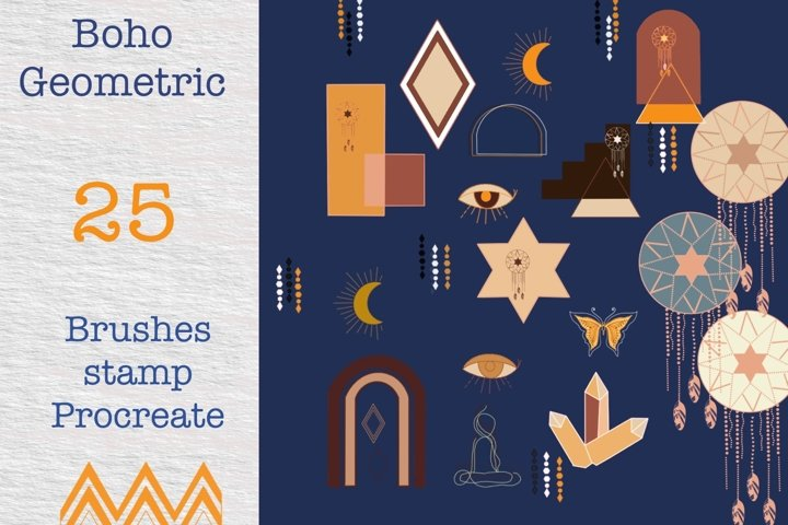 Procreate brushes 25boho Geometric style