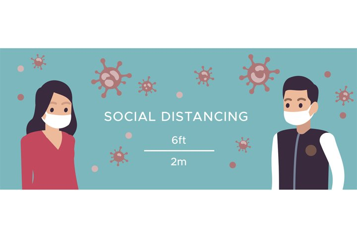 Social distance. Man and woman in medical masks safe distanc