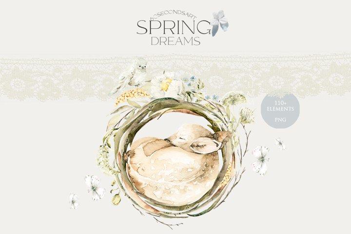 Spring dreames. Watercolor sleeping baby animals