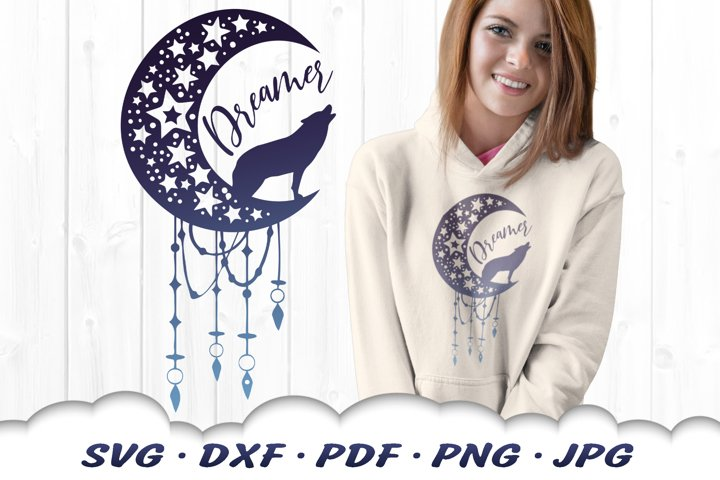 Stars & Moon Celestial Dreamcatcher Wolf SVG DXF Cut Files