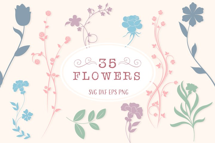Floral Silhouettes SVG Cut Files Pack with 35 Items