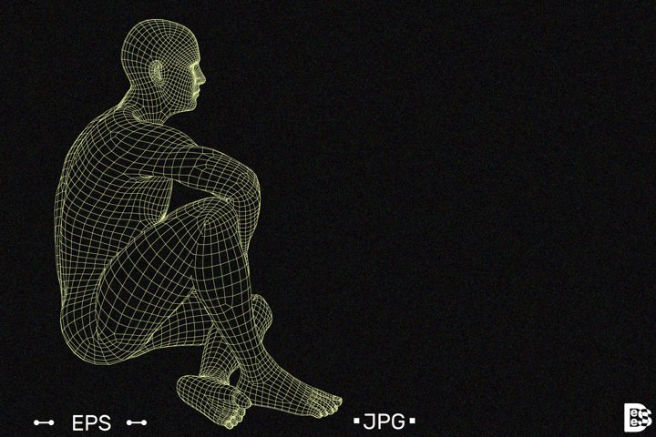 Man sitting on the ground. Vector outline illustration.