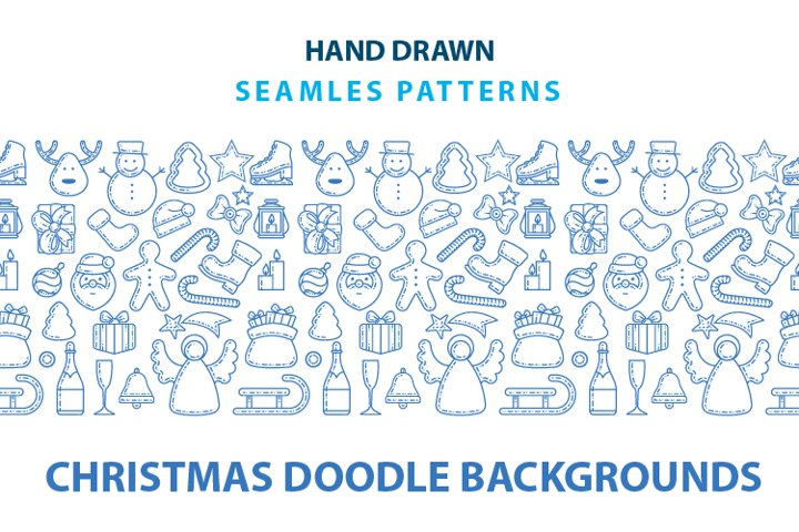 Christmas doodle seamless background.
